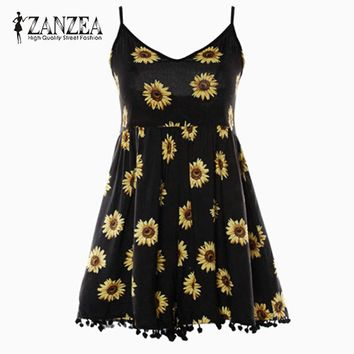 Women's Black Rayon Summer Sunflower Romper.   In Sizes Small to XL.   ***FREE SHIPPING***