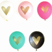 Gold Heart Balloons (Set of 3)