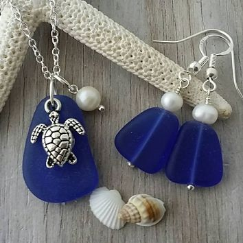 Handmade in Hawaii, cobalt blue sea glass necklace + earrings jewelry set, Fresh water pearl, Sea turtle charm, Sterling silver chain.