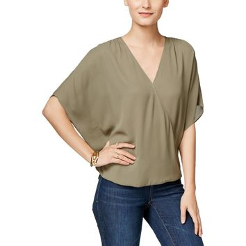 INC Womens Surplice Flutter Sleeves Blouse