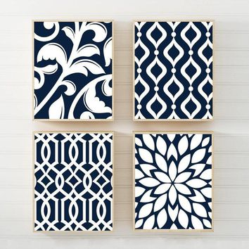NAVY Bedroom Wall Art, Trellis Pattern Swirl Design Canvas or Prints Navy BATHROOM Decor, Navy Kitchen Pictures, Flower Home Decor Set of 4
