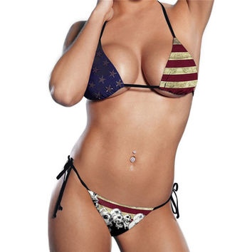 Women Swimwear American Flag Skull Printed Beachwear Bra Set Swimsuit Bathing Su