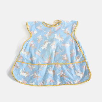 Vintage 60s Girl's NOVELTY Smock / 1960s Little Girl's Classic Fables Print Cotton Apron OS