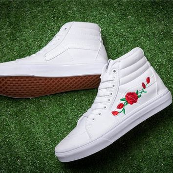 Vans x AMAC Custom Rose Embroidery Skateboarding Shoes 35-44
