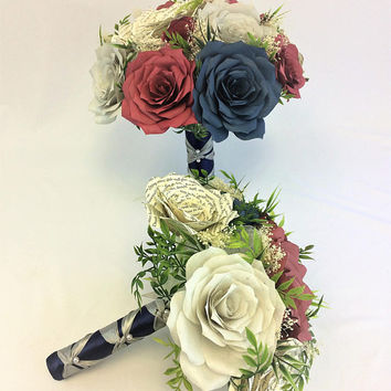 Burgundy, navy blue and silver bouquet using handcrafted paper flowers,  Book page flower bouquet