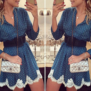 Blue V-Neck with Crochet Lace Mini Dress