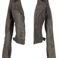 Lily Boutique Grey Fitted Vegan Leather Jacket - OUTERWEAR Lily Boutique