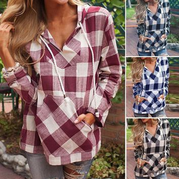 Fashion Womens Pullover T-Shirt Plaid Hoodie Long Sleeve Blouse Top