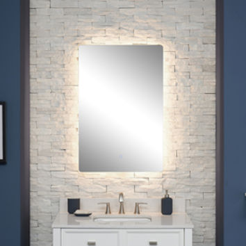 Shop Scott Living Canterbury 24-in x 36-in Chrome Rectangular Frameless Lighted Bathroom Mirror at Lowes.com