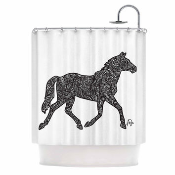 "Adriana De Leon ""Horsie"" Horse Illustration Shower Curtain"