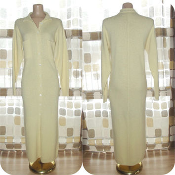 Vintage 80s Buttercream Angora Long Knit Sweater Dress Wool Liz Claiborne M/L