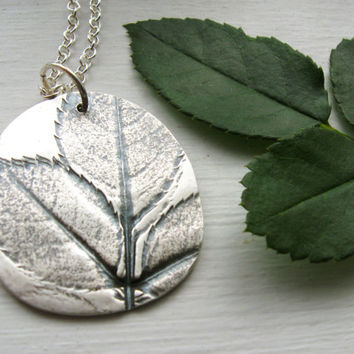 Real leaf necklace, silver garden foliage pendant, extra long leaf impression necklace, silver nature necklace, fall autumn leaves necklace
