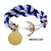 Monogrammed Nautical Royal Blue Bracelet | Anchor Gifts | Marley Lilly