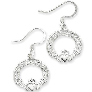 925 Sterling Silver Celtic Knot Circlet Claddagh Dangle Earrings