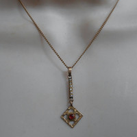 Victorian Garnet Diamond Lavalier Necklace, FM Co Rolled Gold, Finberg Manufacturing Co