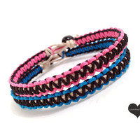 Custom Hemp Bracelets for Couples Pink and Black MADE TO ORDER-1 Week production time
