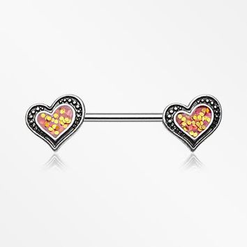 A Pair of Vintage Opalescent Sparkle Heart Nipple Barbell