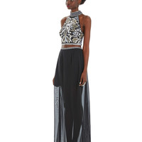 Long, aztec embroidery, two piece dress in black Black Aztec Two Piece - - Fame & Partners