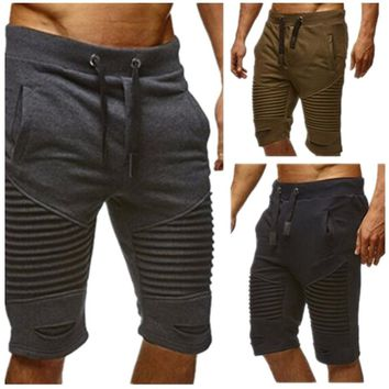 Summer New Men's Sports Running Shorts, Fitness Training Elastic Tie Pockets and Quick-drying Striped Pants