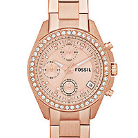 Fossil Women's Chronograph Decker Rose Gold-Tone Stainless Steel Bracelet Watch 38mm ES3352