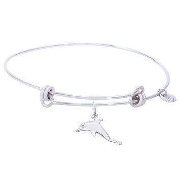 Sterling Silver Balanced Bangle Bracelet With Dolphin Charm