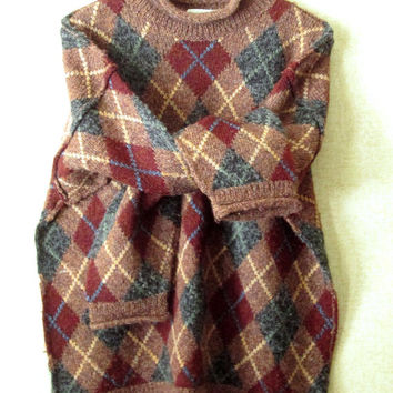 Baggy Sweater Vintage 90s rolled neck loose oversized turtleneck argyle pattern wool intarsia knit tan burgundy grey womens large