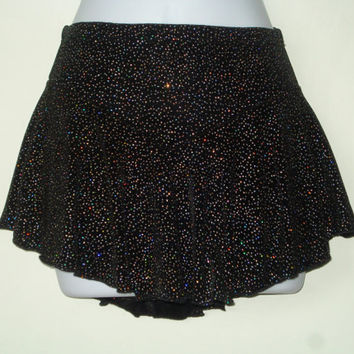 Sparkly Figure Skating Skirt, Black, Girls Large, Attached Brief, Ice Skating, Skater Skirt, Baton, Dance