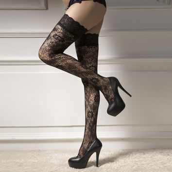 Sexy Stockings Women Net Thigh High Stockings Lace up  Thigh Highs