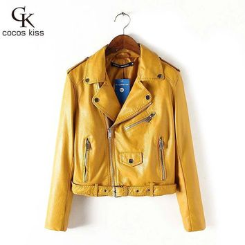 Women's Jackets fashion Leather Zipper Leather Coat