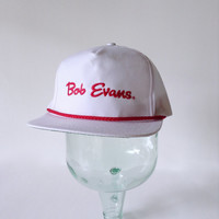 Bob Evans Hat - Vintage Snapback Cap - Script Restaurant Logo - Retro Embroidered Emblem - Red White - Rope Bill - Hipster