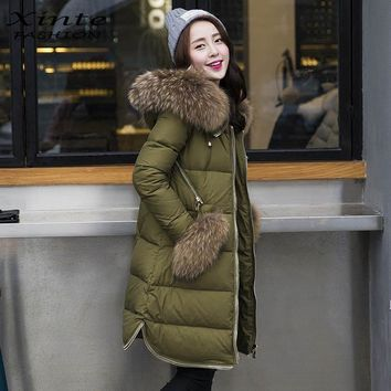 2017 Women Down Jacket White Duck Down Coat Outwear with Real Raccoon Fur Trim Hooded Winter Warm Huge Real Raccoon Fur Pocket