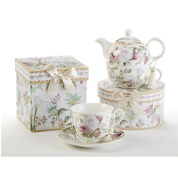 Gift Boxed Porcelain Teacup and Saucer - Pale Rose