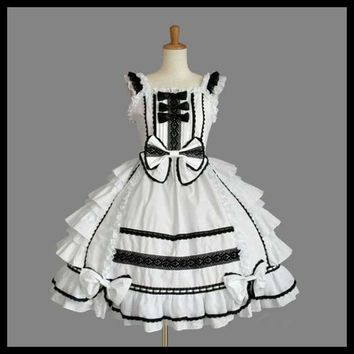 Women Tailored Dress Lolita Dress Chiffon Lace Medieval Gothic Dress Princess Cosplay Halloween Costumes for Party Gown