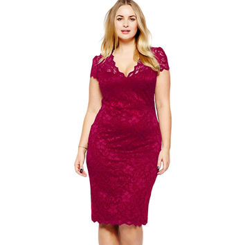 Casual  Red Scalloped V-Neck Lace Plus Size Midi Dress LAVELIQ