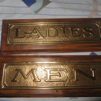 vintage industrial  men ladies restroom signs mounted on wood wall plaques