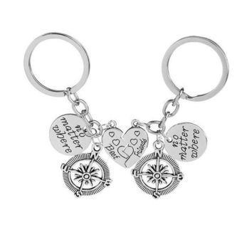 ac spbest No Matter Where best friend Friendship Key Chain Compass And Heart