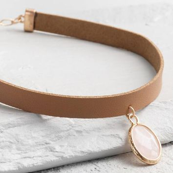 Rose Quartz and Leather Choker Necklace
