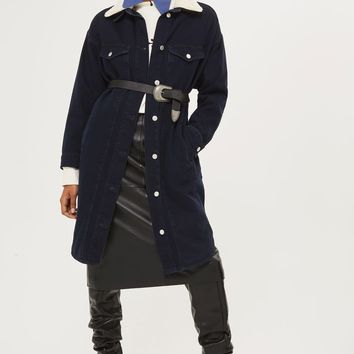 MOTO Denim Borg Duster Coat | Topshop