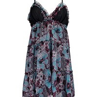 Women's Abstract Floral Print Dress in Black/Turquoise by Daytrip.