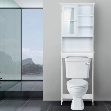White Tall Bathroom Shelving with a Glass Door