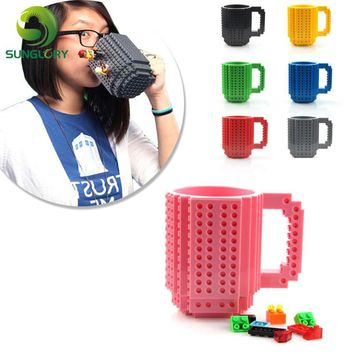 Build-On Brick Mug DIY PUZZLES Mug Building Blocks Coffee Cup 350ml Creative Drinkware BPA Free Personality Frozen Water Cup Toy