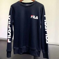 FILA Women's Round Neck Solid Color Long Sleeve LOGO Printed Sweatshirt F-AG-CLWM Black