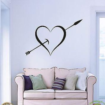 Vinyl Decal Wall Stickers Heart And Arrow Love Romantic Decor Unique Gift (z1682)
