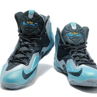 Nike Lebron 11 Carbon Gray/ Blue Basketball Shoes