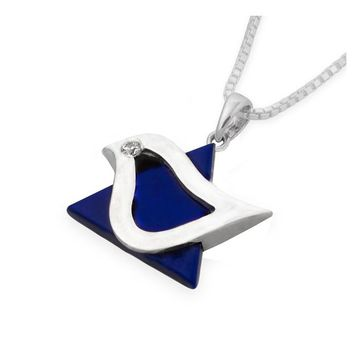 Dove Star Of David Blue Lapis Stone Jewish Jewelry Necklace Pendant