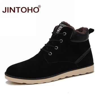 JINTOHO Brand Mens Winter Shoes Fashion Casual Men Shoes Adult Male Shoes Winter Snow Boots Cheap Basic Boots Leather Men Boots