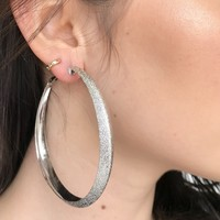 Halo Silver Hoop Earrings