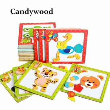 Children 3D Magnetic Puzzle Jigsaw Wooden Toys Cartoon Animals Puzzles Tangram Child Educational Toy for Children