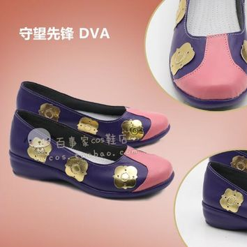 New Over Game Character D.VA Cosplay Costumes Shoes DVA Gradient Color Cheongsam PU Shoes Women Costumes Chinese Shoes
