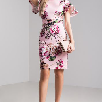 AKIRA Butterfly Sleeve Round Neck Bodycon Floral Print Dress in Pink Floral